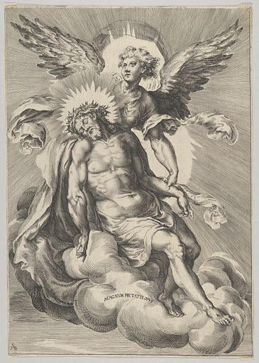 Christ supported by an angel standing on a cloud with light radiating behind them. Date: 1570–1615. Accession number: 53601336.