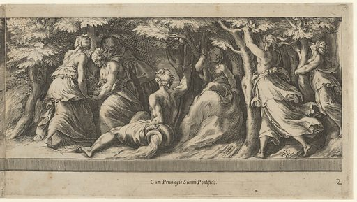 The taking of the Golden Apples, from Perseus and the Golden Apples. Date: 1570–1615. Accession number: 4197442b.