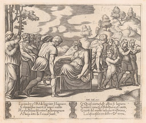 Plate 5: Psyche, seated, being taken to a mountain with a musical troupe lead the way, from the Story of Cupid and Psyche as told by Apuleius. Date: 1530–60. Accession number: 41713(5).