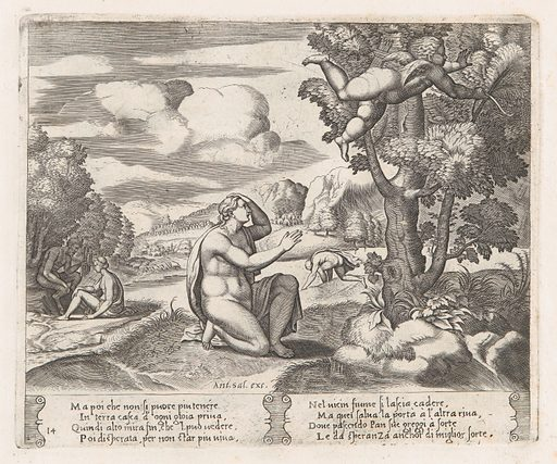 Plate 14: Psyche kneeling in the foreground as Cupid flees from her, from the Story of Cupid and Psyche as told by Apuleius. Date: 1530–60. Accession number: 41713(14).