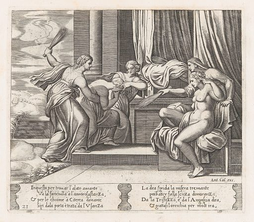 Plate 21: Female personifications of Sorrow and Pain at right punishing Psyche at the behest of Venus, who sits at right, from the Story of Cupid and Psyche as told by Apuleius. Date: 1530–60. Accession number: 41713(21).