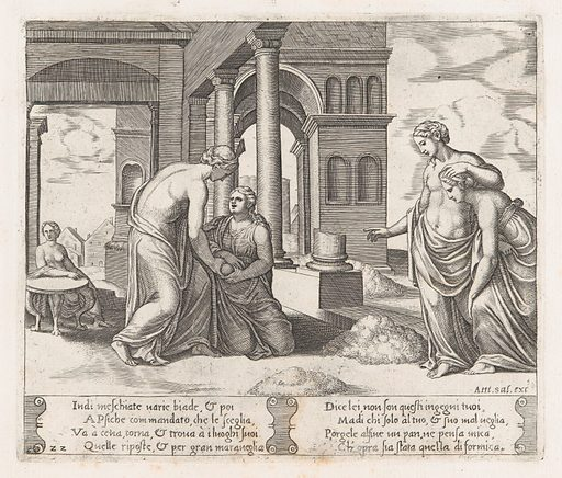 Plate 22: Venus standing at right ordering Psyche to sort a pile of grain, at left the same pair hold a loaf of bread, from the Story of Cupid and Psyche as told by Apuleius. Date: 1530–60. Accession number: 41713(22).