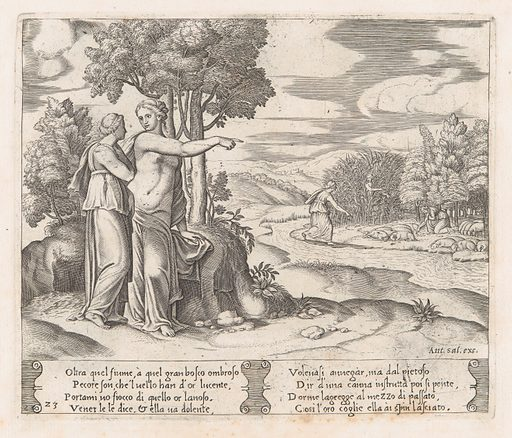 Plate 23: Psyche on the order of Venus departing to find the golden fleece, from the Story of Cupid and Psyche as told by Apuleius. Date: 1530–60. Accession number: 41713(23).