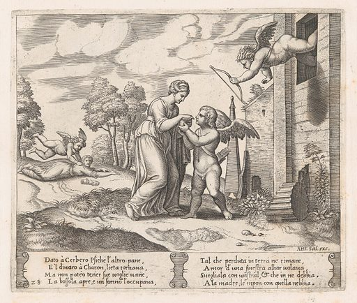 Plate 28: Psyche, wanting to appear more beautiful opens the box, as Cupid arrives in the upper right, and at left his arrow pierces Psyche, who has fallen to the ground, from the Story of Cupid and Psyche as told by Apuleius. Date: 1530–60. Accession number: 41713(28).