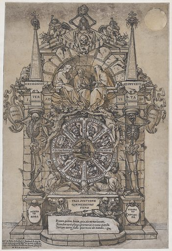 Triumph of Death with three fates in an architectural frame above a wheel of fortune flanked by skeletons. a skull and an hour glass at top and with wheel intended to spin at center. Date: 1588. Accession number: 22733–79.