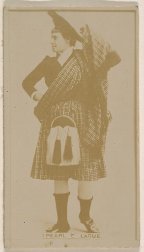 Pearl E Larue, from the Actresses series (N245) issued by Kinney Brothers to promote Sweet Caporal Cigarettes. Date: 1890. Accession number: 633502202451125.