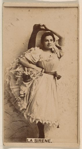 La Sirene, from the Actresses series (N245) issued by Kinney Brothers to promote Sweet Caporal Cigarettes. Date: 1890. Accession number: 633502202451128.