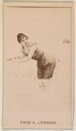 Face A L'ennemi, from the Actresses series (N245) issued by Kinney Brothers to promote Sweet Caporal Cigarettes. Date: 1890. Accession number: 633502202451144.