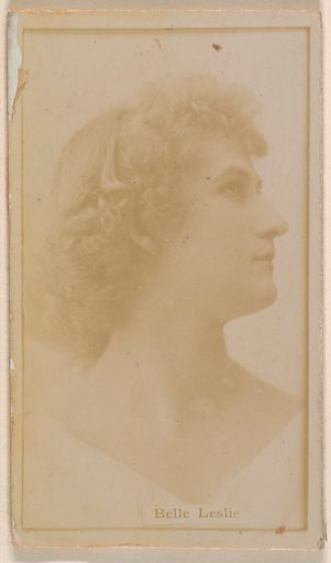 Belle Leslie, from the Actresses series (N245) issued by Kinney Brothers to promote Sweet Caporal Cigarettes. Date: 1890. Accession number: 633502202451147.