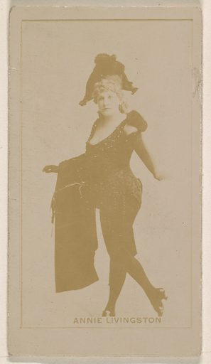 Annie Livingston, from the Actresses series (N245) issued by Kinney Brothers to promote Sweet Caporal Cigarettes. Date: 1890. Accession number: 633502202451181.