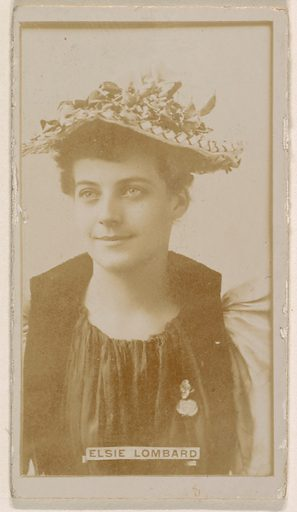 Elsie Lombard, from the Actresses series (N245) issued by Kinney Brothers to promote Sweet Caporal Cigarettes. Date: 1890. Accession number: 633502202451191.