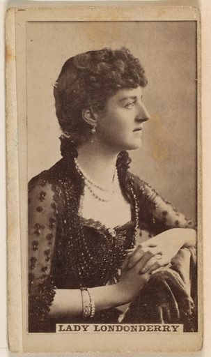 Lady Londonberry, from the Actresses series (N245) issued by Kinney Brothers to promote Sweet Caporal Cigarettes. Date: 1890. Accession number: 633502202451194.