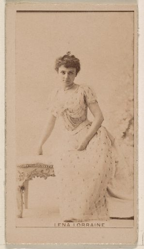 Lena Lorraine, from the Actresses series (N245) issued by Kinney Brothers to promote Sweet Caporal Cigarettes. Date: 1890. Accession number: 633502202451196.