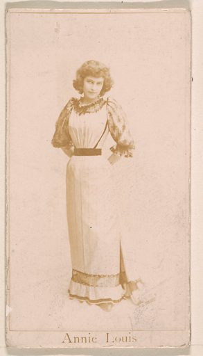 Annie Louis, from the Actresses series (N245) issued by Kinney Brothers to promote Sweet Caporal Cigarettes. Date: 1890. Accession number: 633502202451198.