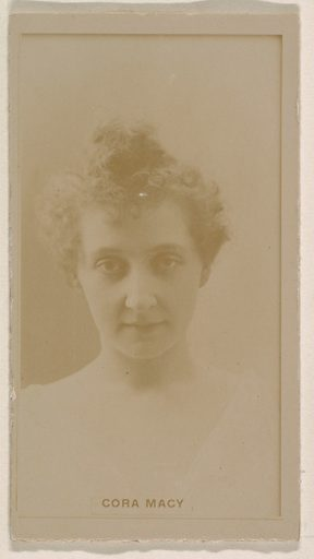 Cora Macy, from the Actresses series (N245) issued by Kinney Brothers to promote Sweet Caporal Cigarettes. Date: 1890. Accession number: 633502202451215.