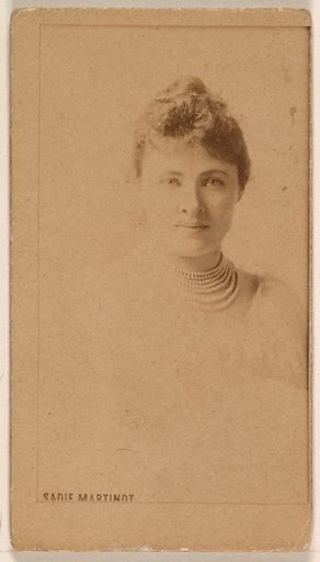 Sadie Martinot, from the Actresses series (N245) issued by Kinney Brothers to promote Sweet Caporal Cigarettes. Date: 1890. Accession number: 633502202451258.