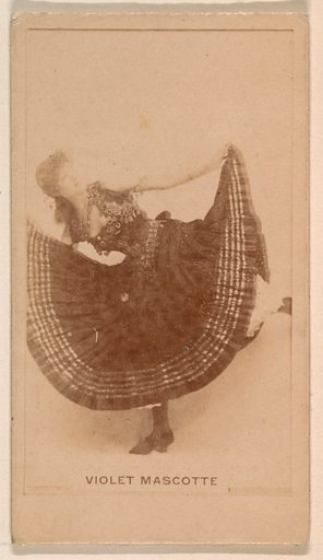 Violet Mascotte, from the Actresses series (N245) issued by Kinney Brothers to promote Sweet Caporal Cigarettes. Date: 1890. Accession number: 633502202451260.
