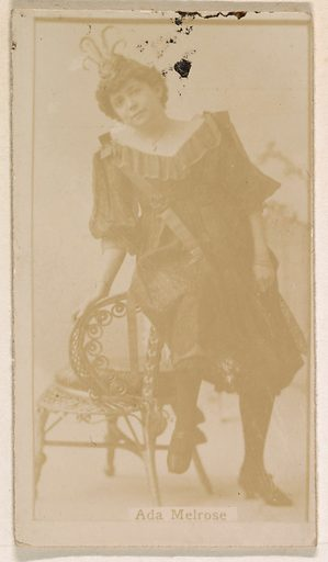 Ada Melrose, from the Actresses series (N245) issued by Kinney Brothers to promote Sweet Caporal Cigarettes. Date: 1890. Accession number: 633502202451292.