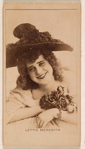 Lettie Meredith, from the Actresses series (N245) issued by Kinney Brothers to promote Sweet Caporal Cigarettes. Date: 1890. Accession number: 633502202451301.