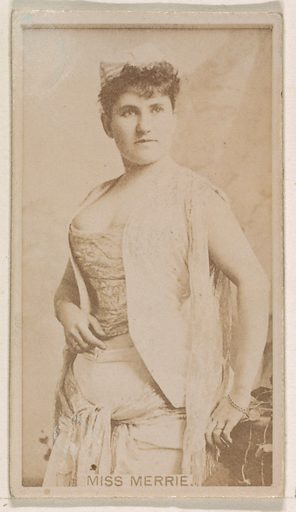 Miss Merrie, from the Actresses series (N245) issued by Kinney Brothers to promote Sweet Caporal Cigarettes. Date: 1890. Accession number: 633502202451304.