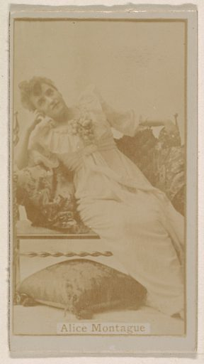 Alice Montague, from the Actresses series (N245) issued by Kinney Brothers to promote Sweet Caporal Cigarettes. Date: 1890. Accession number: 633502202451330.