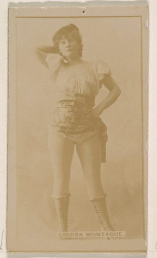 Louise Montague, from the Actresses series (N245) issued by Kinney Brothers to promote Sweet Caporal Cigarettes. Date: 1890. Accession number: 633502202451331.