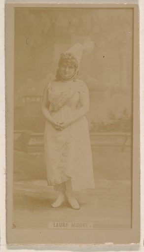 Laura Moore, from the Actresses series (N245) issued by Kinney Brothers to promote Sweet Caporal Cigarettes. Date: 1890. Accession number: 633502202451346.