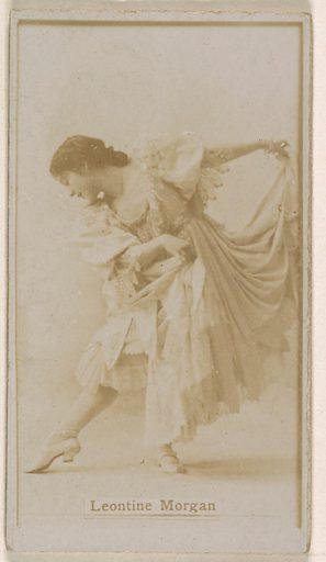 Leontine Morgan, from the Actresses series (N245) issued by Kinney Brothers to promote Sweet Caporal Cigarettes. Date: 1890. Accession number: 633502202451348.