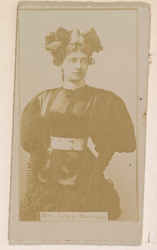 Mrs Lewis Morrison, from the Actresses series (N245) issued by Kinney Brothers to promote Sweet Caporal Cigarettes. Date: 1890. Accession number: 633502202451351.
