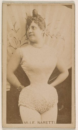 Mlle Naretti, from the Actresses series (N245) issued by Kinney Brothers to promote Sweet Caporal Cigarettes. Date: 1890. Accession number: 633502202451379.