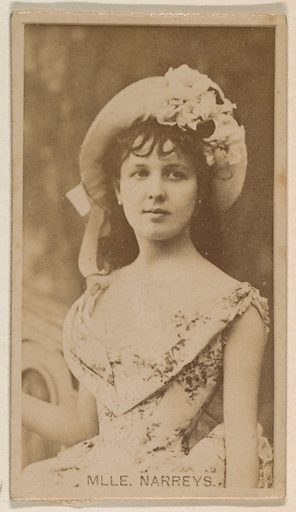 Mlle Narreys, from the Actresses series (N245) issued by Kinney Brothers to promote Sweet Caporal Cigarettes. Date: 1890. Accession number: 633502202451380.