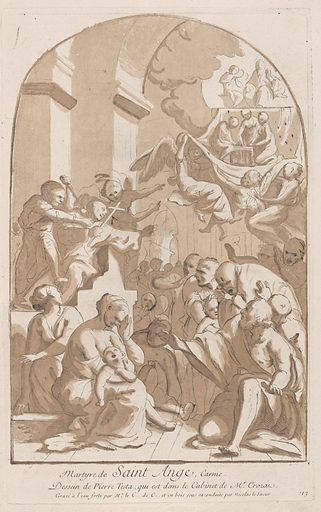The martyrdom of Saint Angelo who in the upper left is being stabbed watched by horrified onlookers, from the 'Cabinet Crozat'. Date: 1729–64. Accession number: 60708(117).