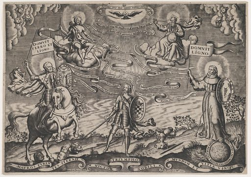 The triumph of faith, a soldier standing in centre holding shield adorned with arms of Alva. Holy Trinity above, St James Major on horseback at left. Date: 1698. Accession number: 4614027.
