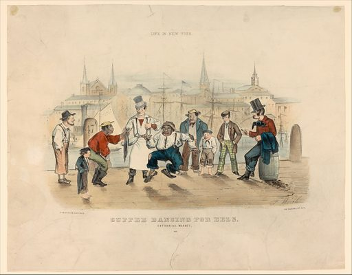 Cuffee Dancing for Eels – Catharine Market (Life in New York). Date: 1857. Accession number: 63550376.