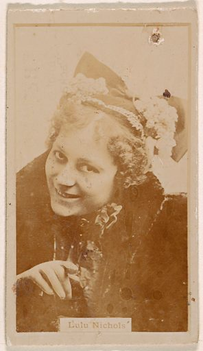 Lulu Nichols, from the Actresses series (N245) issued by Kinney Brothers to promote Sweet Caporal Cigarettes. Date: 1890. Accession number: 633502202451391.