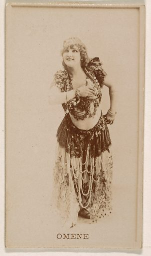 Omene, from the Actresses series (N245) issued by Kinney Brothers to promote Sweet Caporal Cigarettes. Date: 1890. Accession number: 633502202451402.