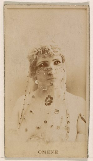 Omene, from the Actresses series (N245) issued by Kinney Brothers to promote Sweet Caporal Cigarettes. Date: 1890. Accession number: 633502202451405.