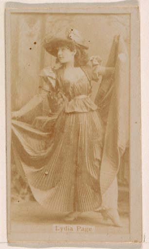 Lydia Page, from the Actresses series (N245) issued by Kinney Brothers to promote Sweet Caporal Cigarettes. Date: 1890. Accession number: 633502202451418.