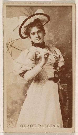 Grace Palotta, from the Actresses series (N245) issued by Kinney Brothers to promote Sweet Caporal Cigarettes. Date: 1890. Accession number: 633502202451427.