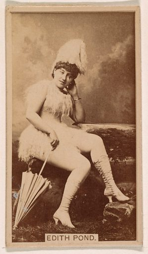 Edith Pond, from the Actresses series (N245) issued by Kinney Brothers to promote Sweet Caporal Cigarettes. Date: 1890. Accession number: 633502202451447.