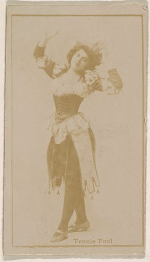 Tennie Pool, from the Actresses series (N245) issued by Kinney Brothers to promote Sweet Caporal Cigarettes. Date: 1890. Accession number: 633502202451449.