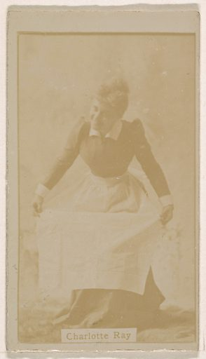 Charlotte Ray, from the Actresses series (N245) issued by Kinney Brothers to promote Sweet Caporal Cigarettes. Date: 1890. Accession number: 633502202451484.