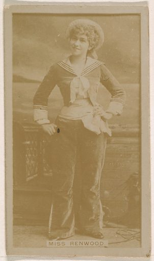 Miss Renwood, from the Actresses series (N245) issued by Kinney Brothers to promote Sweet Caporal Cigarettes. Date: 1890. Accession number: 633502202451517.