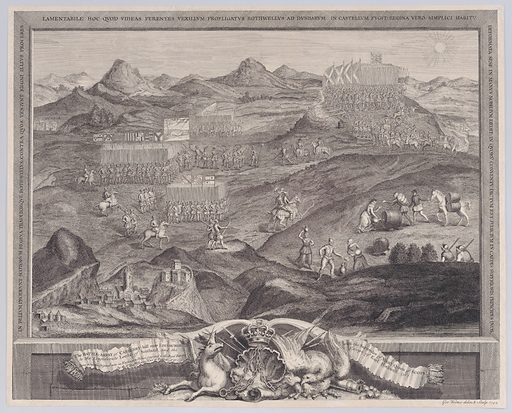 The Battle-Array of Carberry-hill near Edinburgh with the Surrender of Mary Queen of Scots to the Confederate Lords of Scotland, and the Escape of Earl Bothwell. Date: 1742. Accession number: 515012201.