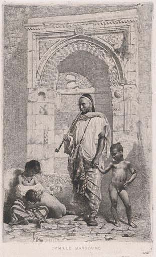 A Moroccan family in front of an arch, father standing, mother lower left on the ground holding a child. Date: 1862. Accession number: 19188.
