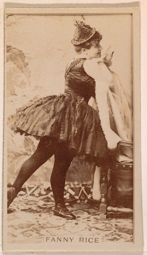 Fanny Rice, from the Actresses series (N245) issued by Kinney Brothers to promote Sweet Caporal Cigarettes. Date: 1890. Accession number: 633502202451532.