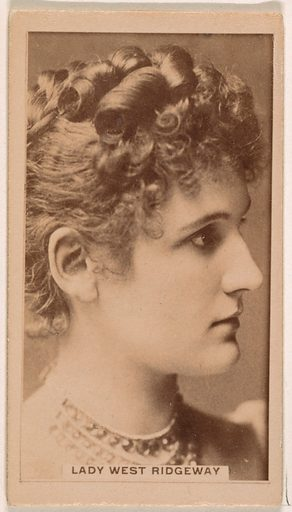 Lady West Ridgeway, from the Actresses series (N245) issued by Kinney Brothers to promote Sweet Caporal Cigarettes. Date: 1890. Accession number: 633502202451537.