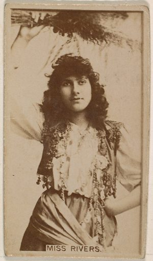 Miss Rivers, from the Actresses series (N245) issued by Kinney Brothers to promote Sweet Caporal Cigarettes. Date: 1890. Accession number: 633502202451541.