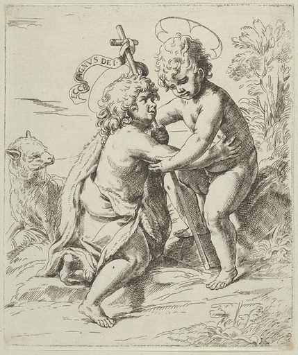 The young Saint John the Baptist kneeling before the young Christ who embraces him, a lamb at left, after Reni (ca 1600–1640). Accession number: 51.501.4896.