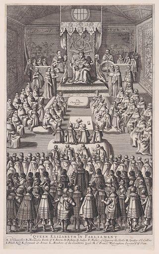 Queen Elizabeth in Parliament (1682). Accession number: 41.44.1377.